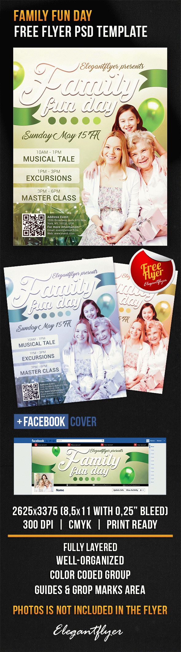 Family Fun Day – Free Flyer PSD Template + Facebook Cover