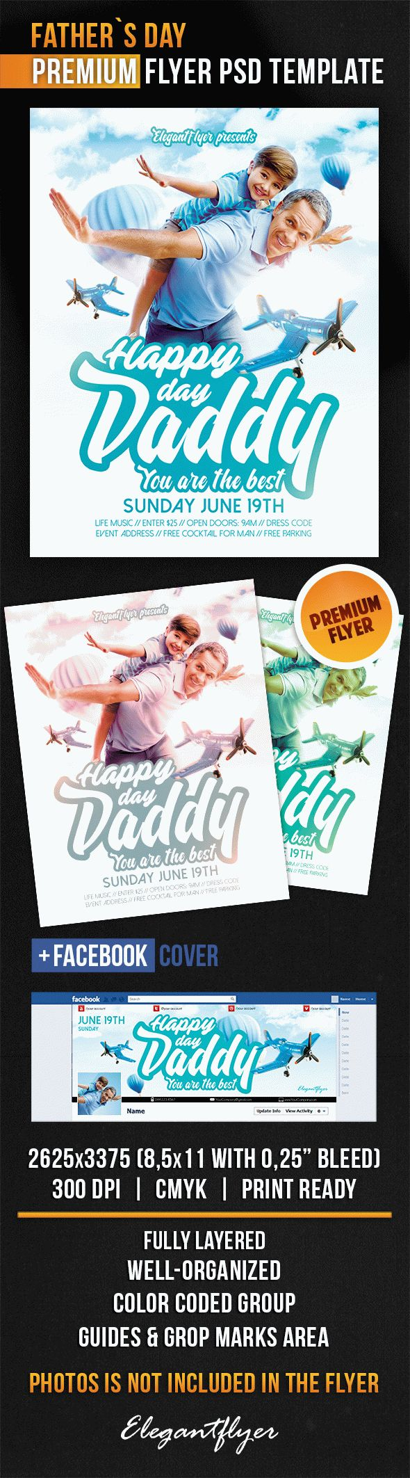 Father`s Day – Flyer PSD Template + Facebook Cover