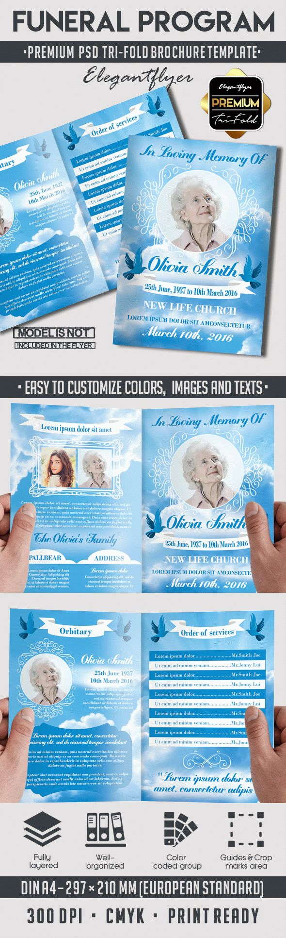 In loving memory funeral program by elegantflyer for Funeral brochure template