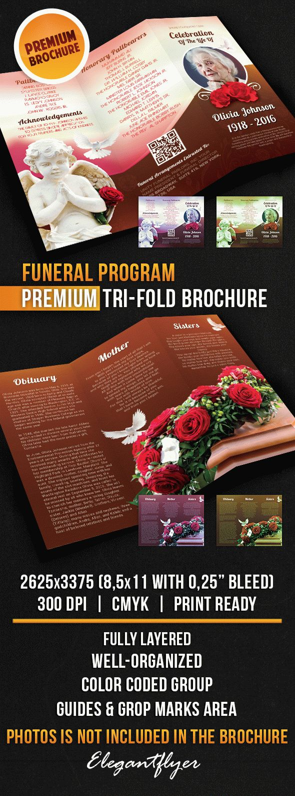 Template funeral program brochure tri fold by elegantflyer for Program brochure templates