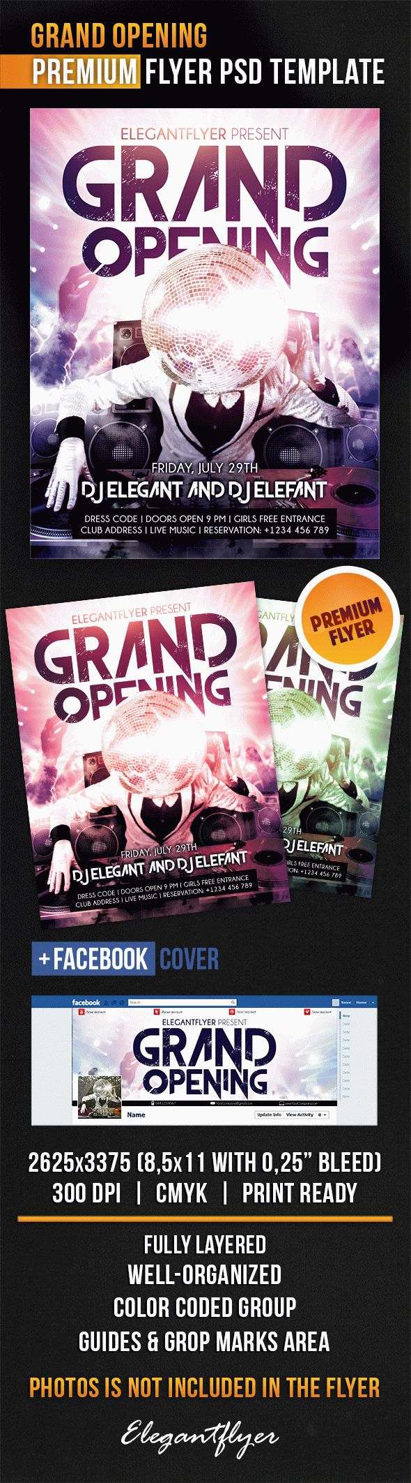 Grand Opening – Flyer PSD Template + Facebook Cover