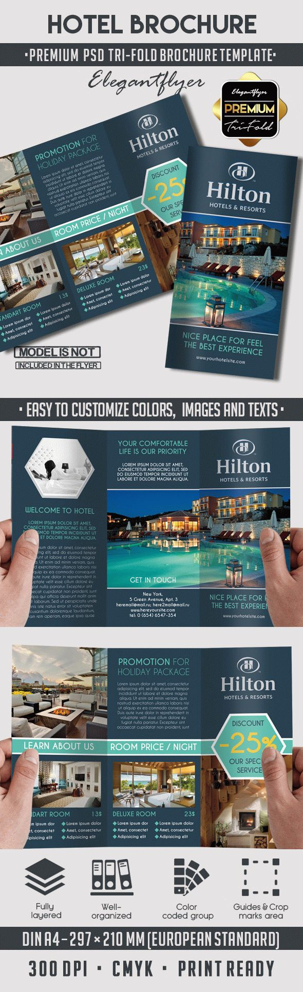 Hotel premium tri fold psd brochure template by for Photoshop tri fold brochure template free