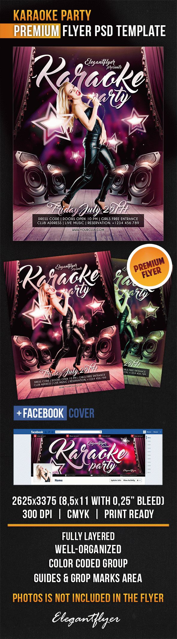 Karaoke Party – Flyer PSD Template + Facebook Cover