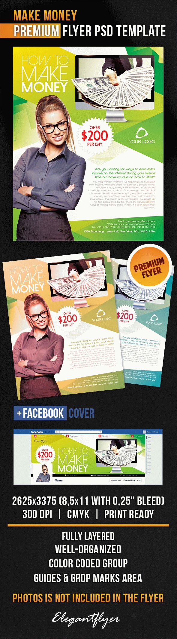 Make Money – Flyer PSD Template + Facebook Cover