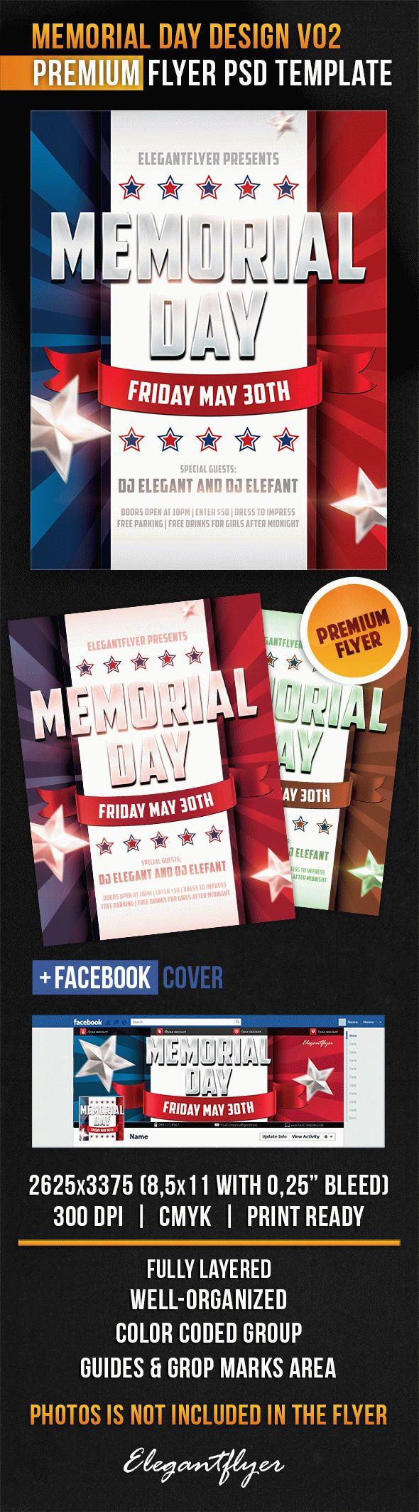 Memorial Day Design V02 – Flyer PSD Template + Facebook Cover
