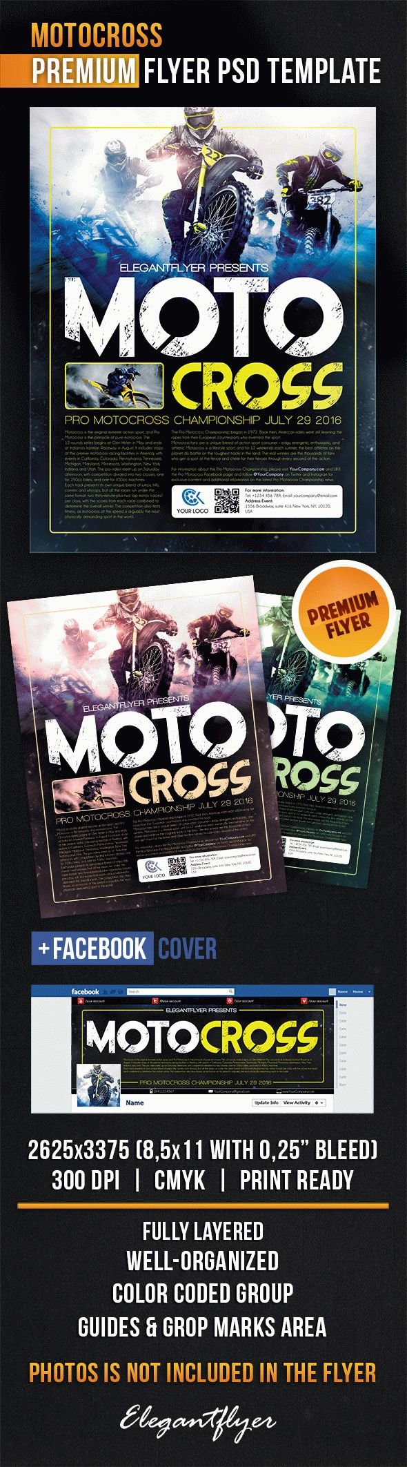 Motocross – Flyer PSD Template + Facebook Cover