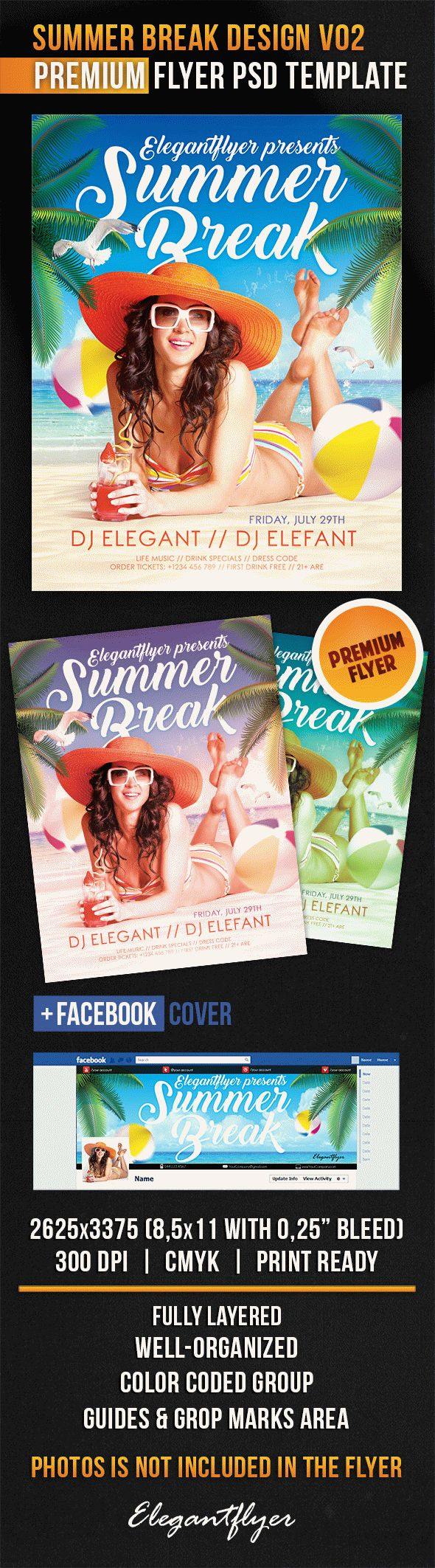 Summer Break Design V02 – Flyer PSD Template + Facebook Cover
