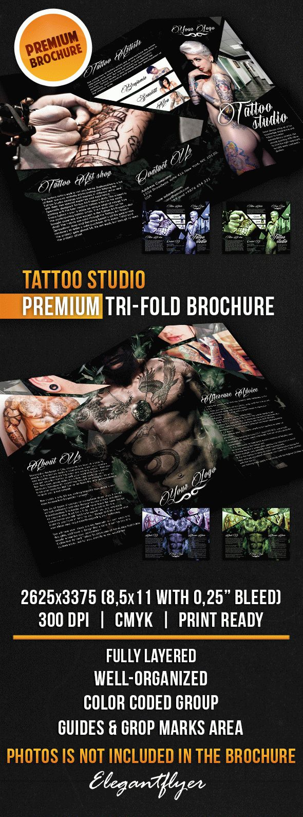 Tattoo Studio – Tri-Fold Brochure PSD Template