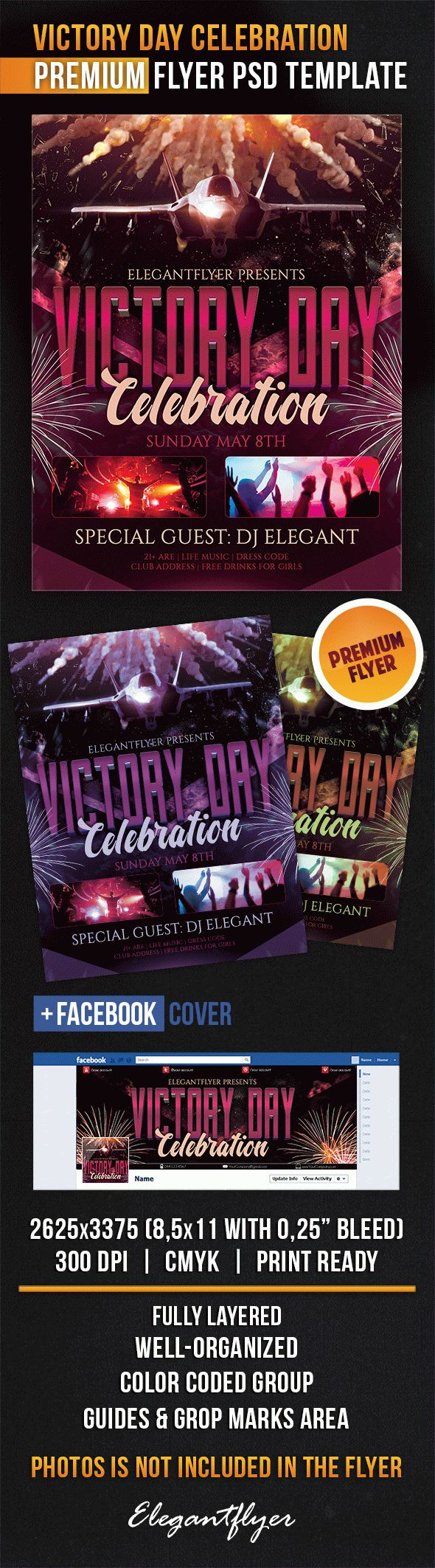 Victory Day Celebration – Flyer PSD Template + Facebook Cover