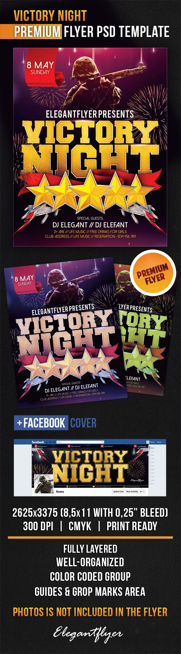 Victory Night – Flyer PSD Template + Facebook Cover