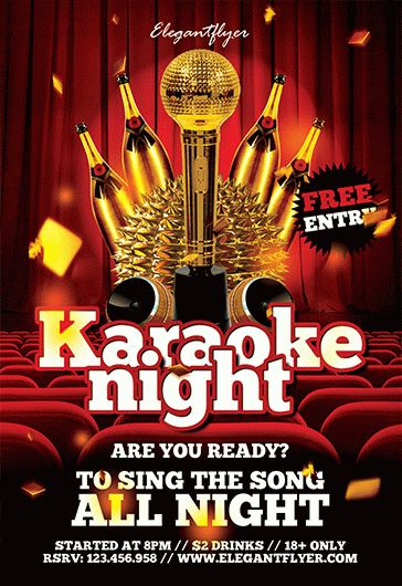 all night karaoke template  u2013 by elegantflyer