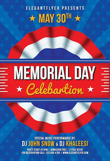 Memorial Day Celebration  Flyer Psd Template  By Elegantflyer