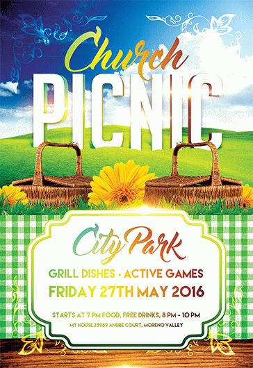 Church Picnic – Flyer PSD Template + Facebook Cover