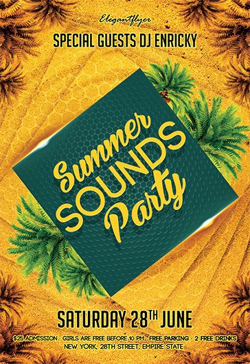 Summer Sounds Party – Free Flyer PSD Template + Facebook Cover