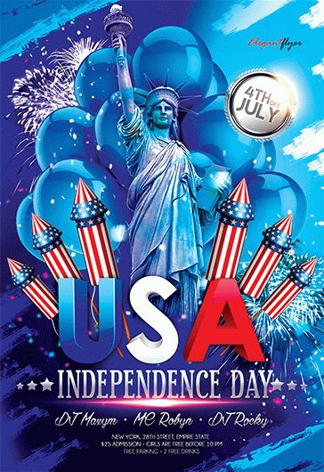 Usa Independence Day – Flyer Psd Template + Facebook Cover – By