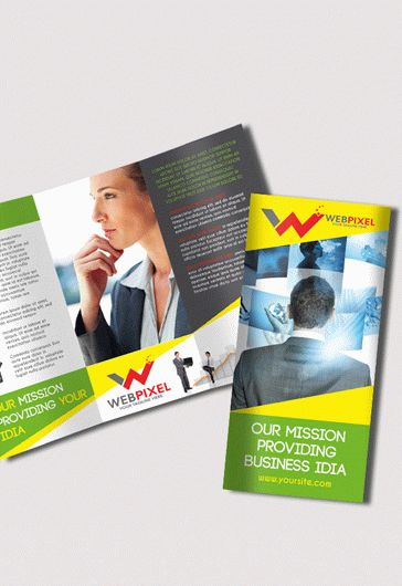 Template for Corporate Tri-Fold Brochure in PSD