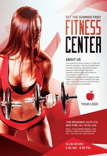 Fitness Center Sports U2013 Free Flyer PSD Template + Facebook Cover U2013 By  ElegantFlyer  Free Fitness Flyer Templates