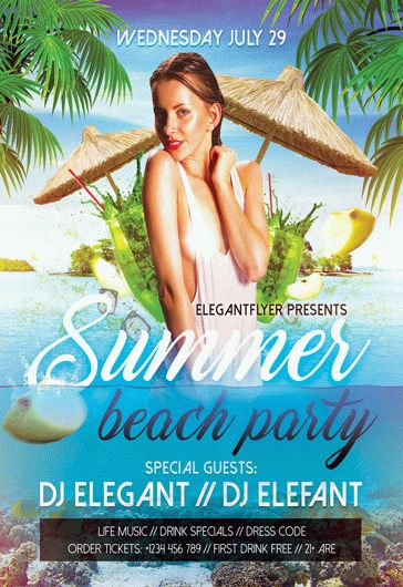 summer beach party design v02  u2013 flyer psd template  u2013 by elegantflyer