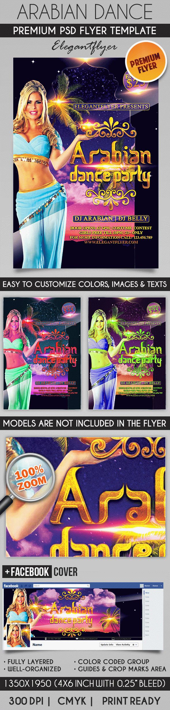 Arabian Dance Party – Flyer PSD Template + Facebook Cover