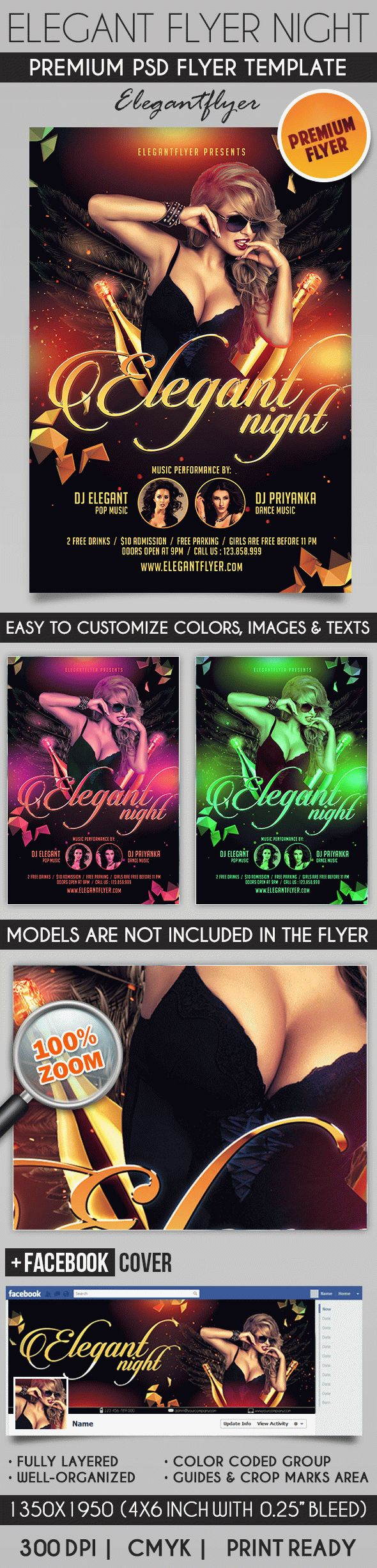 Elegant Flyer Night – Flyer PSD Template + Facebook Cover