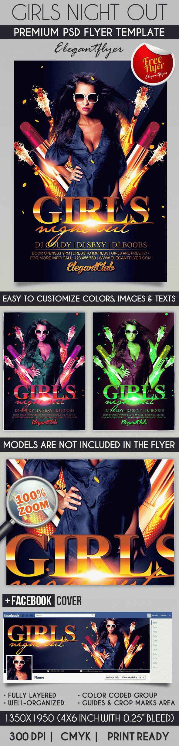 Girls Night Out – Flyer PSD Template + Facebook Cover