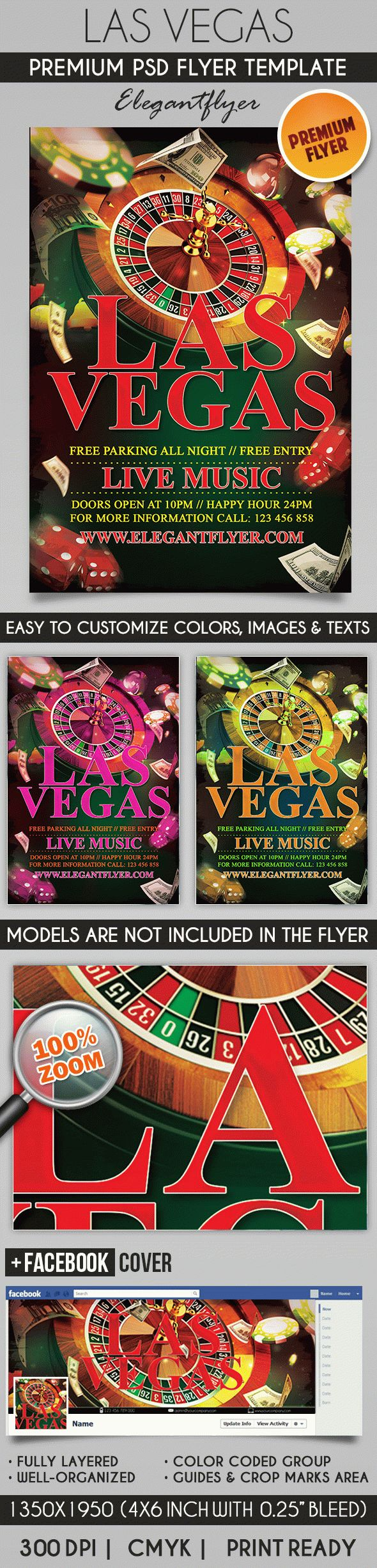 Las Vegas – Flyer PSD Template + Facebook Cover