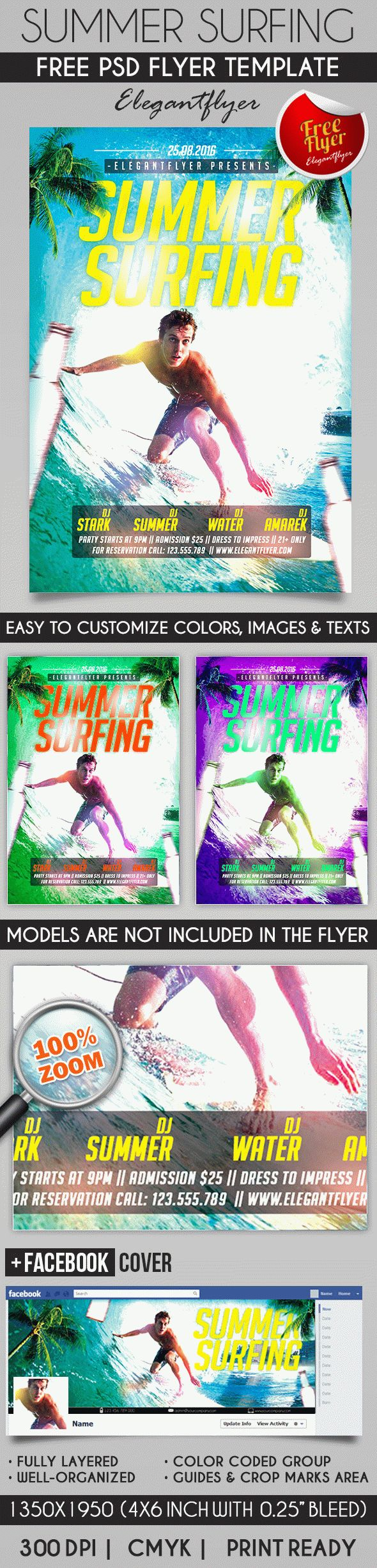 Summer Surfing – Flyer PSD Template + Facebook Cover