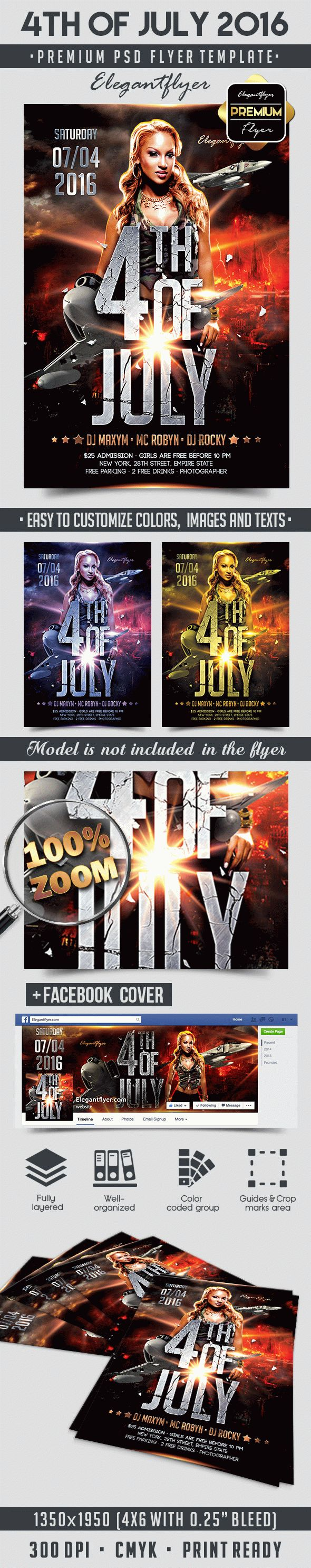 4th of July 2016 – Flyer PSD Template + Facebook Cover