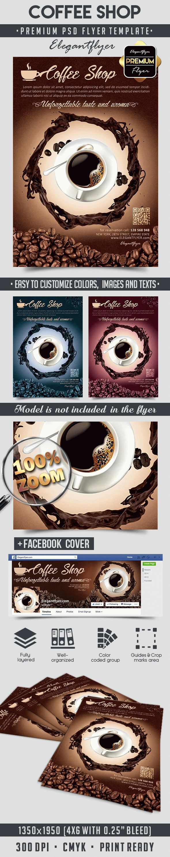 Coffee Shop – Flyer PSD Template + Facebook Cover
