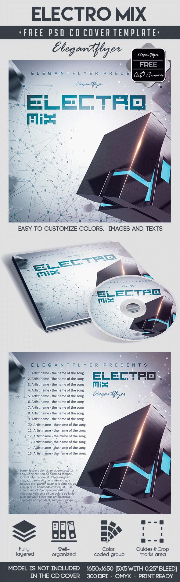 Electro Mix – Free CD Cover PSD Template – by ElegantFlyer