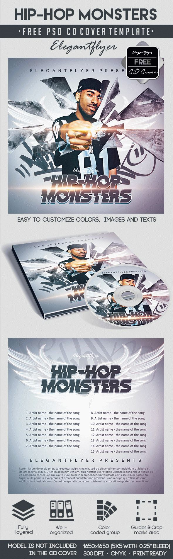 Hip-Hop Monsters – Free CD Cover PSD Template