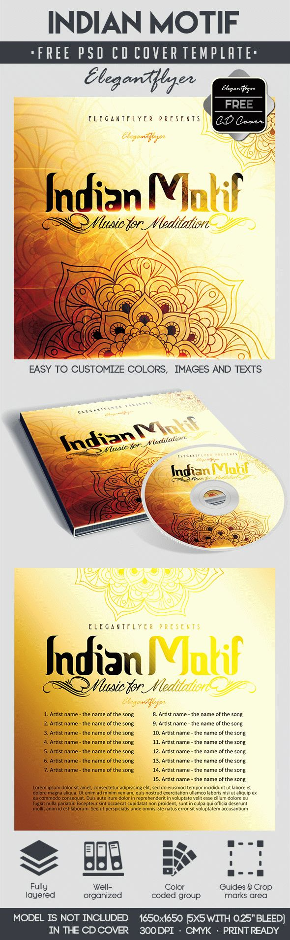 Indian Motif – Free CD Cover PSD Template