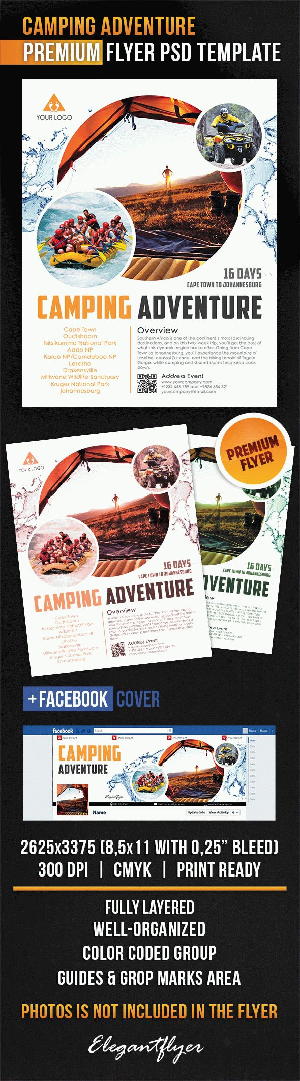 Camping Adventure – Flyer PSD Template + Facebook Cover