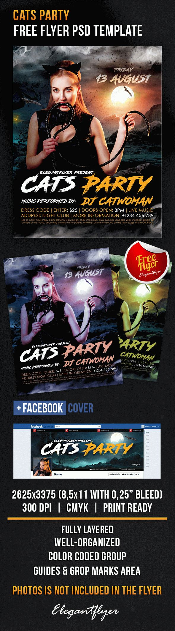 Cats Party – Free Flyer PSD Template
