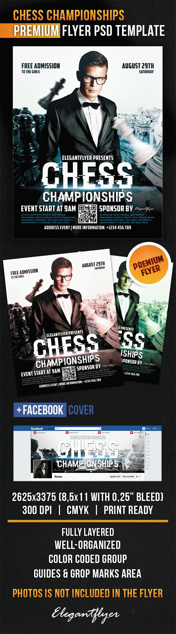 Chess Championships – Flyer PSD Template + Facebook Cover