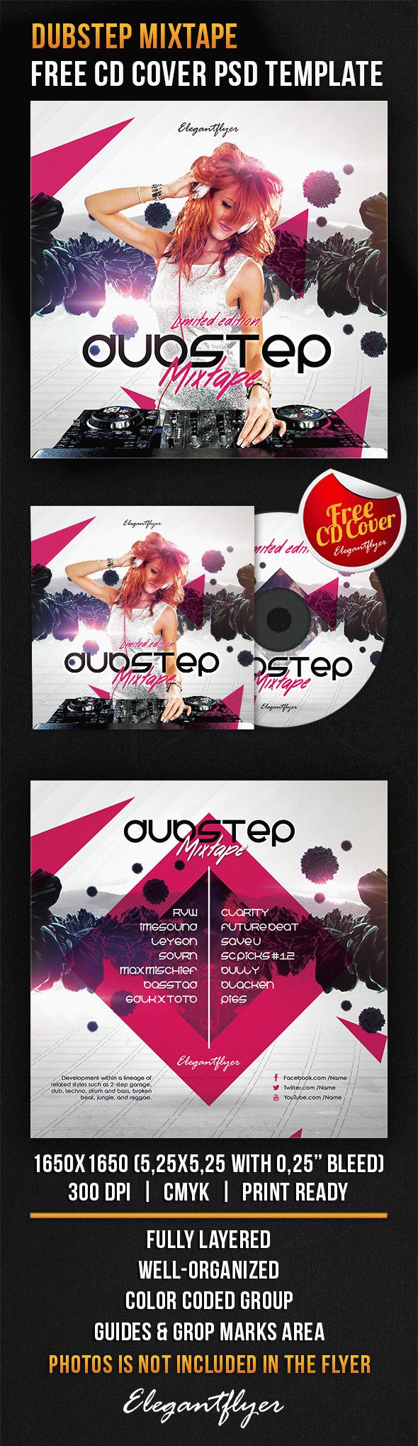 Dubstep Mixtape – Free CD Cover PSD Template