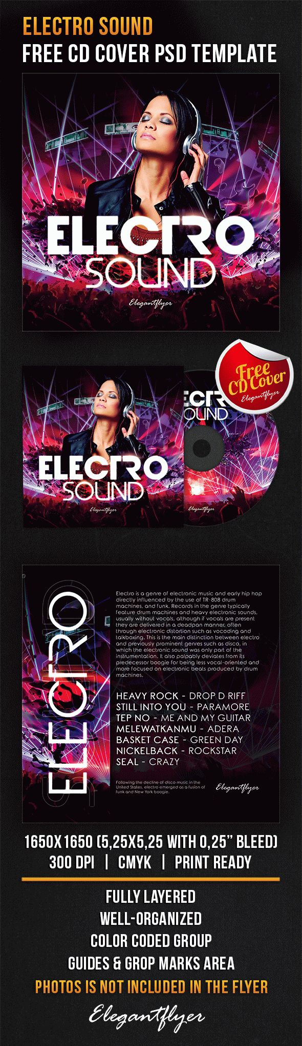 Electro Music Free CD Cover Template