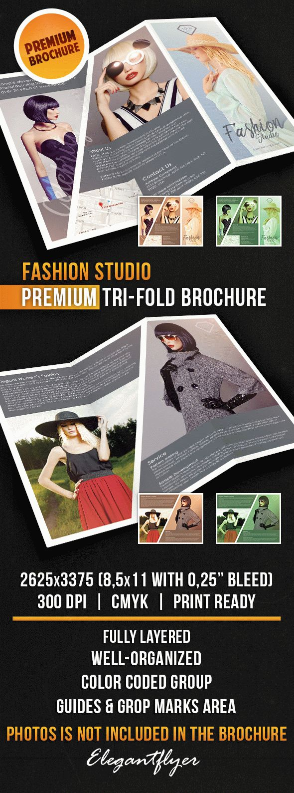 Fashion Studio – Tri-Fold Brochure PSD Template