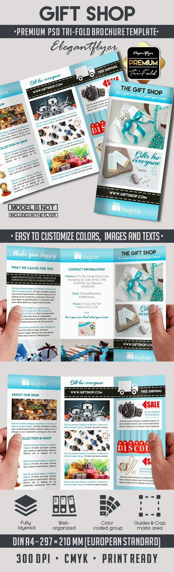 3d brochure templates psd - gift shop premium tri fold psd brochure template by