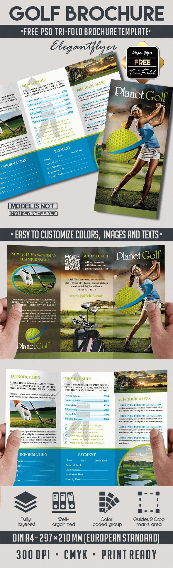 Golf club free psd tri fold psd brochure template by for Psd template brochure