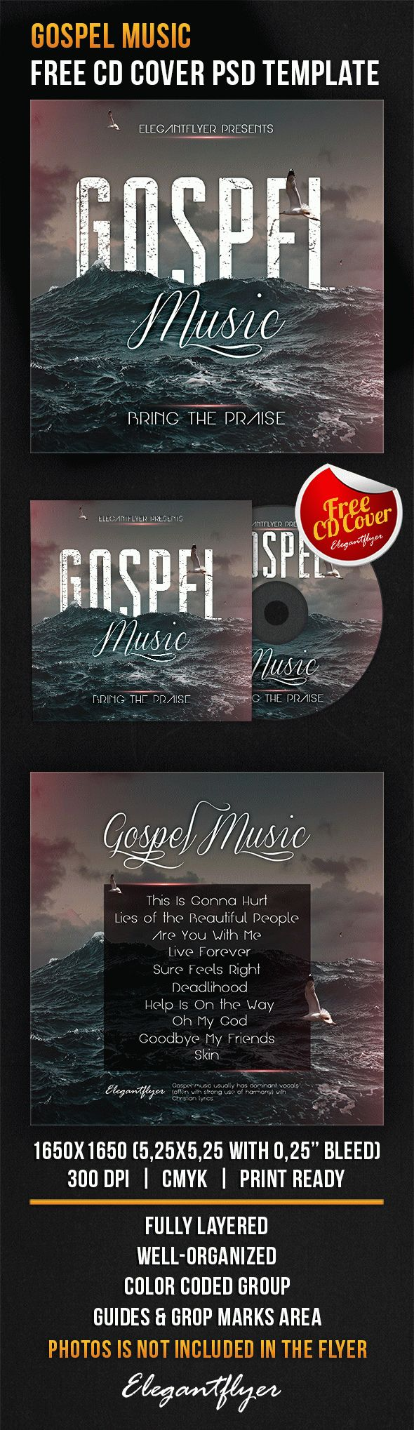 Gospel Music – Free CD Cover PSD Template