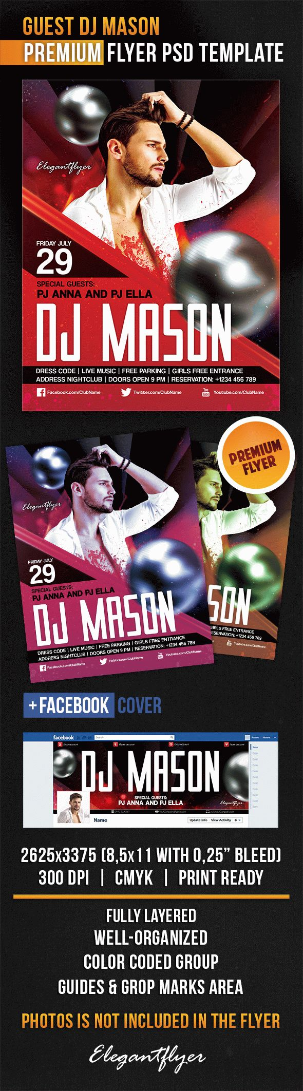 Guest Dj Mason – Flyer PSD Template + Facebook Cover
