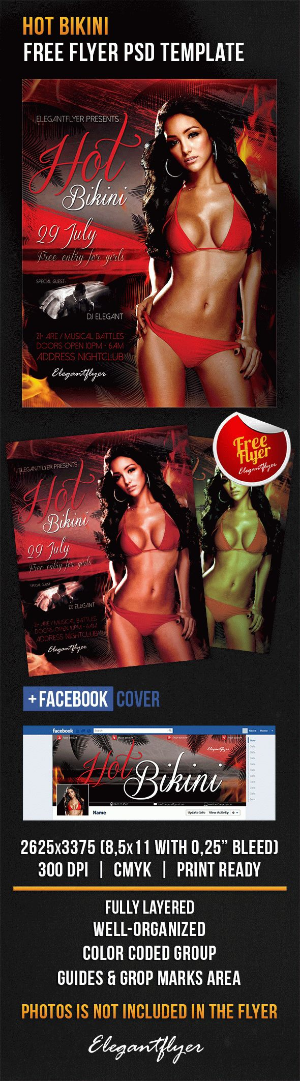 Hot Bikini – Free Flyer PSD Template + Facebook Cover