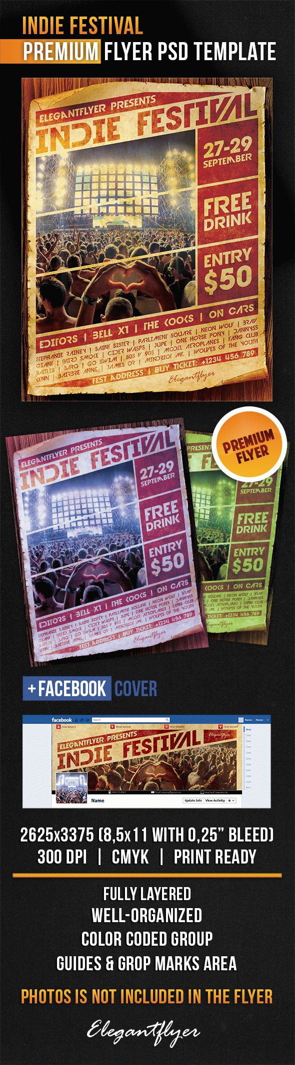 Indie Festival – Flyer PSD Template + Facebook Cover