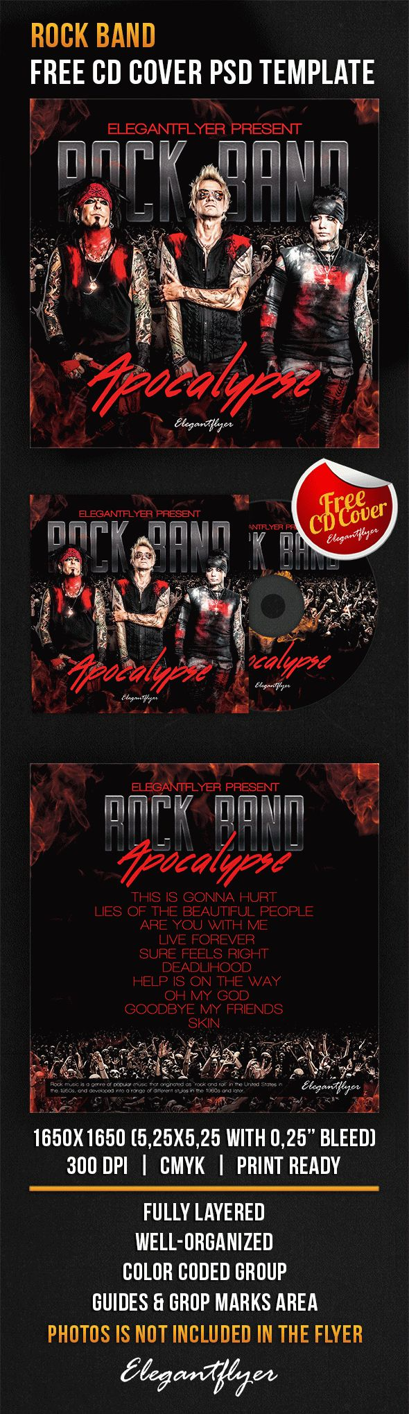 Rock Band – Free CD Cover PSD Template