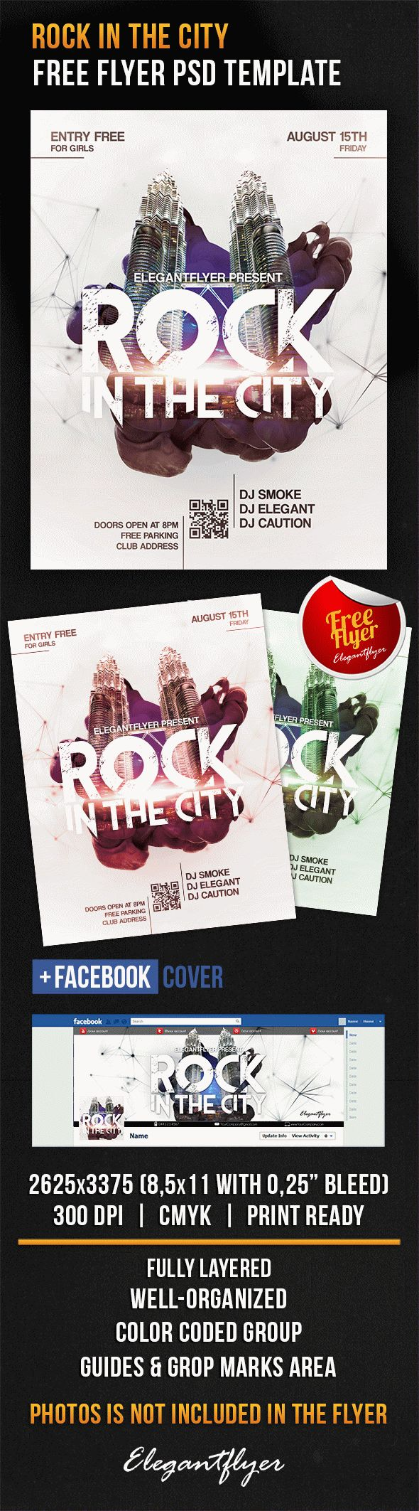Rock In The City – Free Flyer PSD Template + Facebook Cover