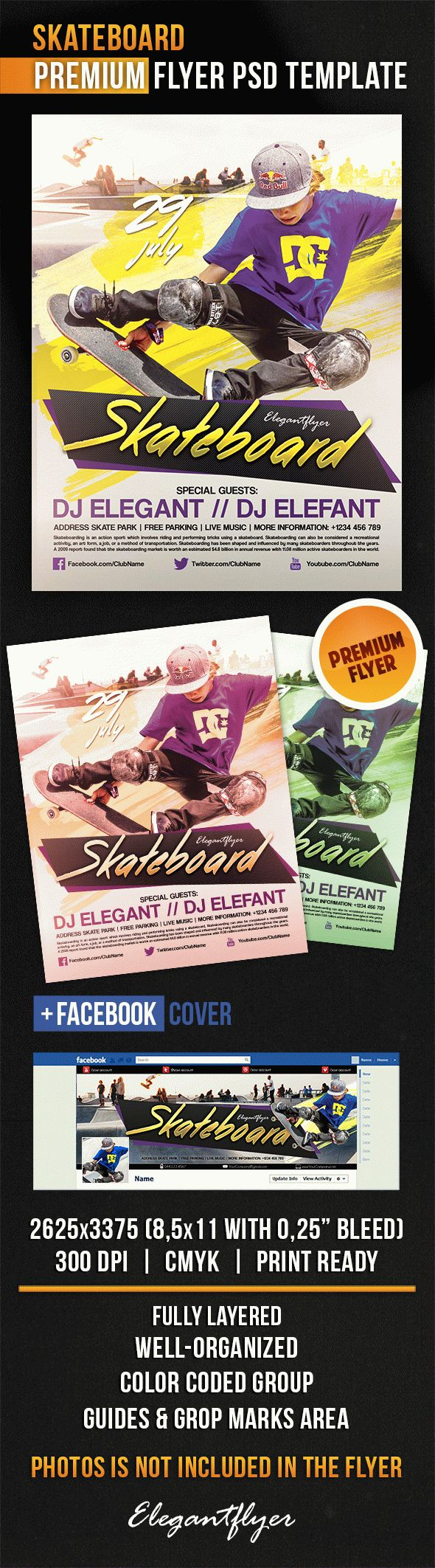 Skateboard – Flyer PSD Template + Facebook Cover