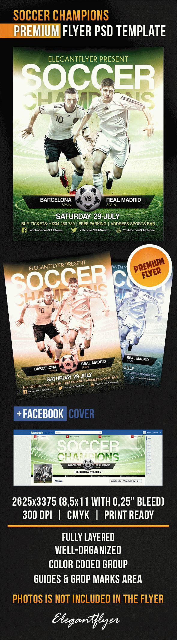 Soccer Champions – Flyer PSD Template + Facebook Cover
