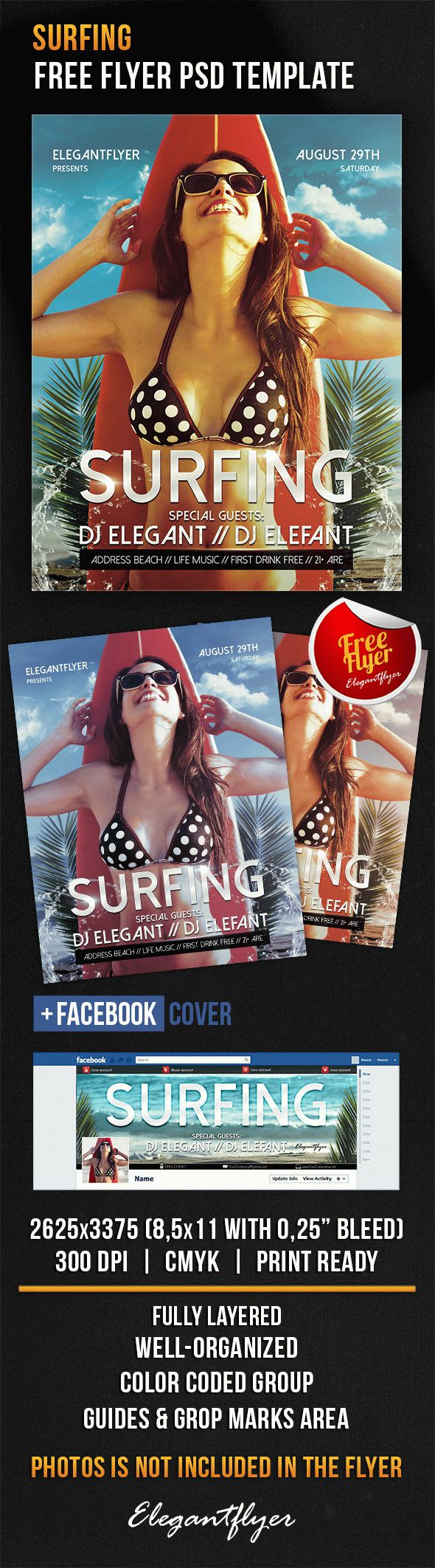 Surfing – Free Flyer PSD Template + Facebook Cover