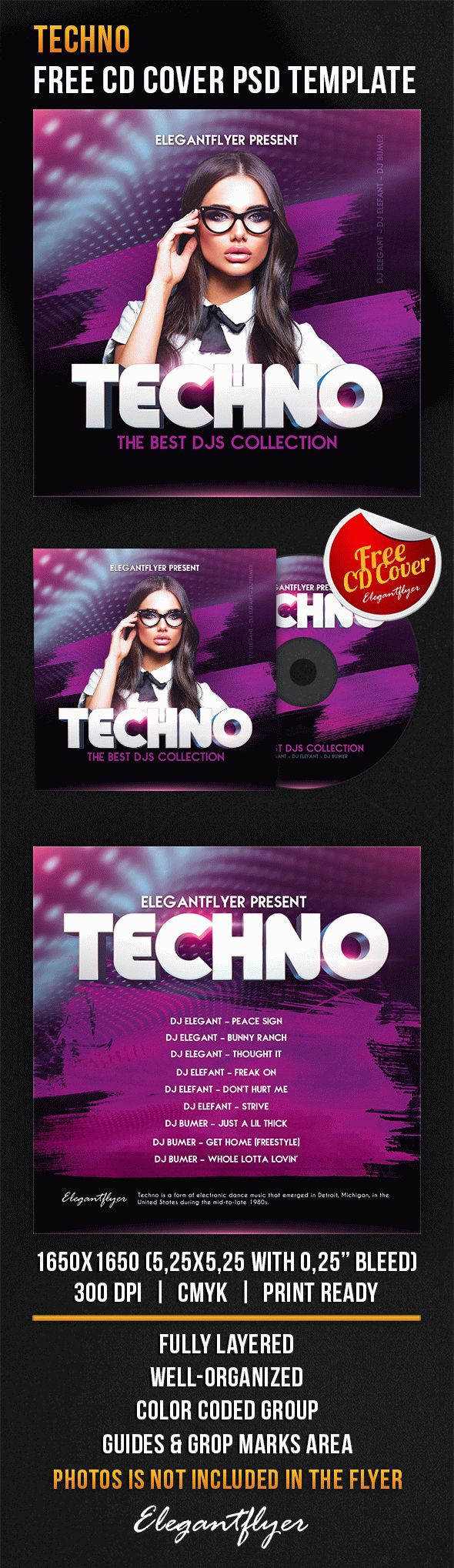 Techno – Free CD Cover PSD Template